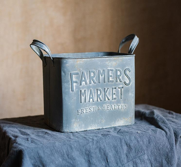 Farmers Market Iron Flower Bucket
