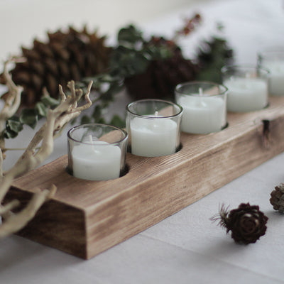 Gaia Rustic Wooden Candle Holder