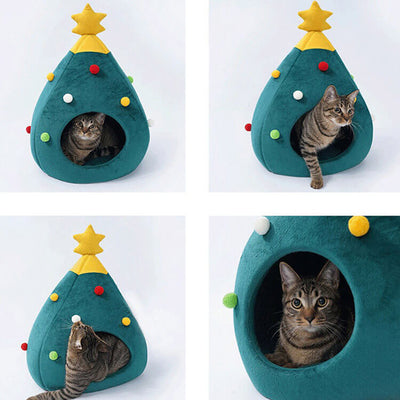 Cozy Christmas Tree Cat Home