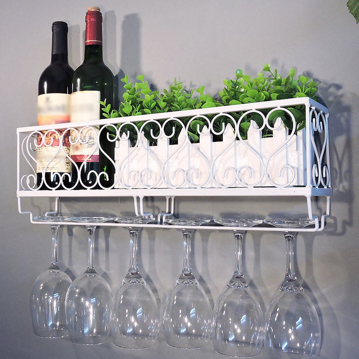 Wine Lovers Farmhouse Metal Shelf Rack | Farmhouse Decor