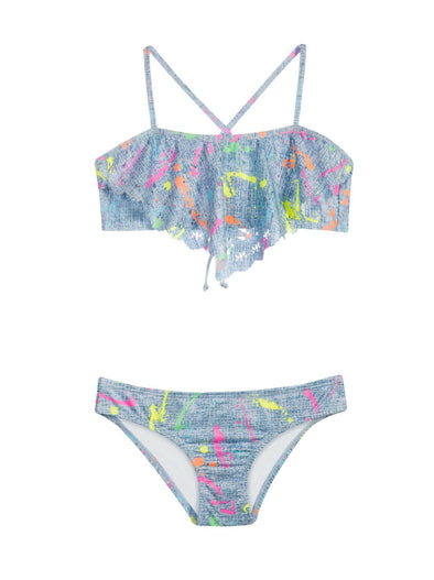PilyQ Kids Splatter Paint Laser Cut Out Bikini