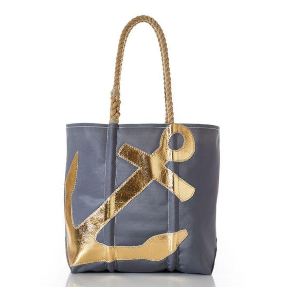 Sea Bags Gold on Grey Anchore Tote