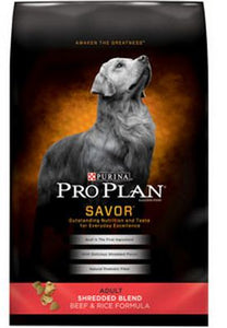 Purina Pro Plan Savor Adult Shredded Blend Beef and Rice Formula Dry Dog Food