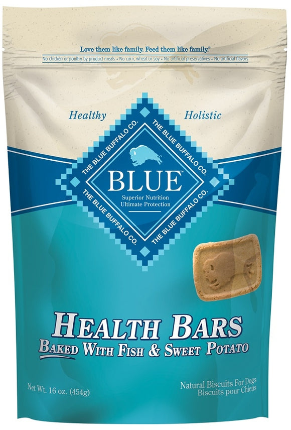 Blue Health Bars Baked With Fish and Sweet Potato Dog Treats