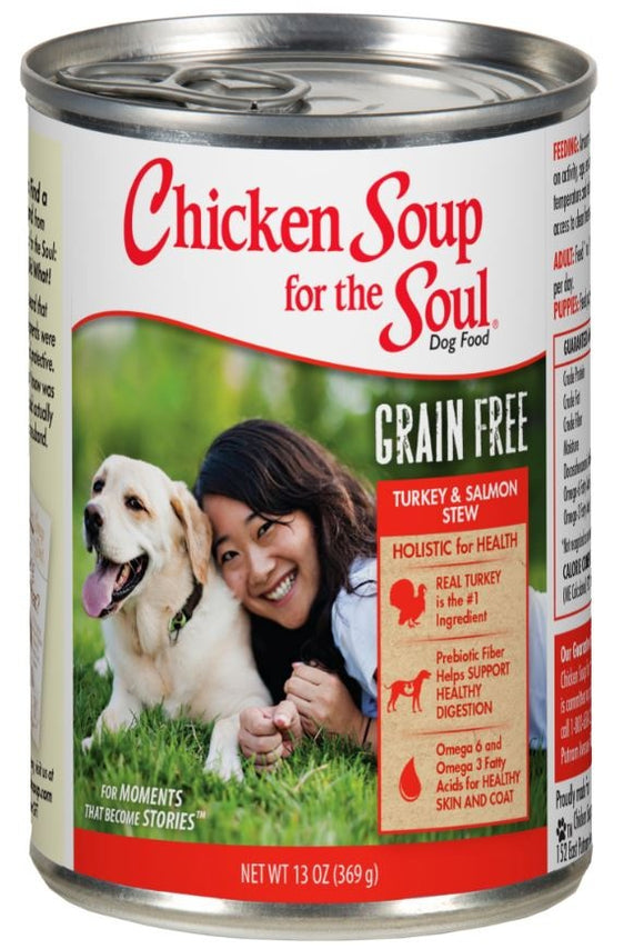 Chicken Soup For The Soul Grain Free Turkey and Salmon Stew Canned Dog Food
