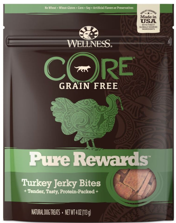 Wellness CORE Natural Grain Free Pure Rewards Turkey Recipe Jerky Bites Dog Treats