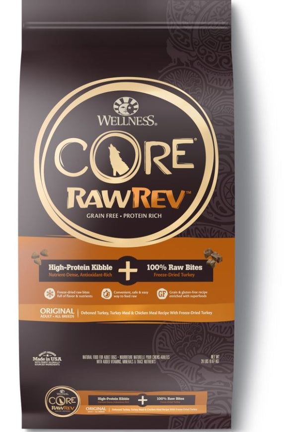 Wellness Core Raw Rev Natural Grain Free Original Turkey and Chicken with Freeze Dried Turkey Dry Dog Food