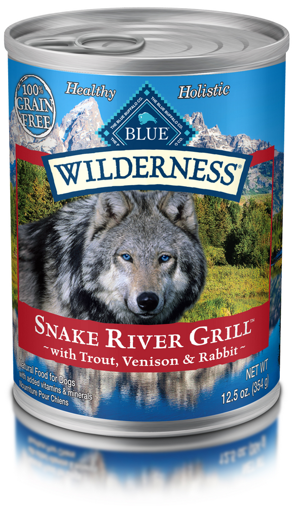Blue Buffalo Wilderness Grain Free Snake River Grill Trout, Venison and Rabbit Canned Dog Food