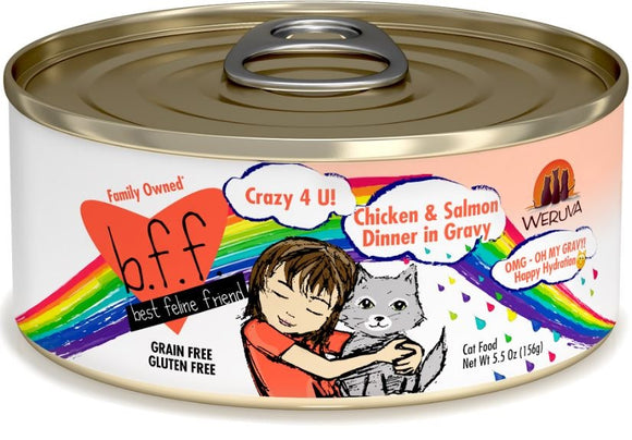 Weruva BFF Oh My Gravy Crazy 4 U Grain Free Chicken and Salmon in Gravy Canned Cat Food