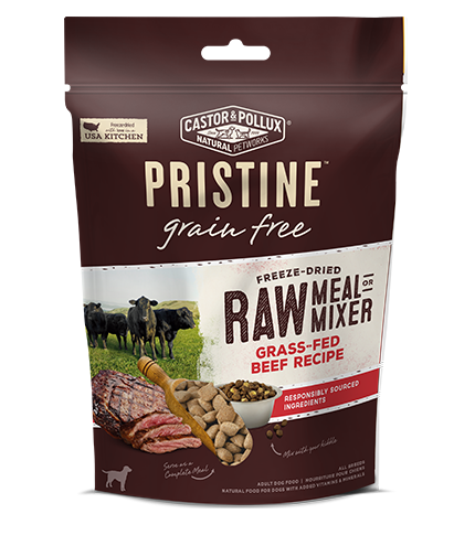 Castor and Pollux Pristine Grain Free Grass Fed Beef Recipe Freeze Dried Raw Meal or Mixer