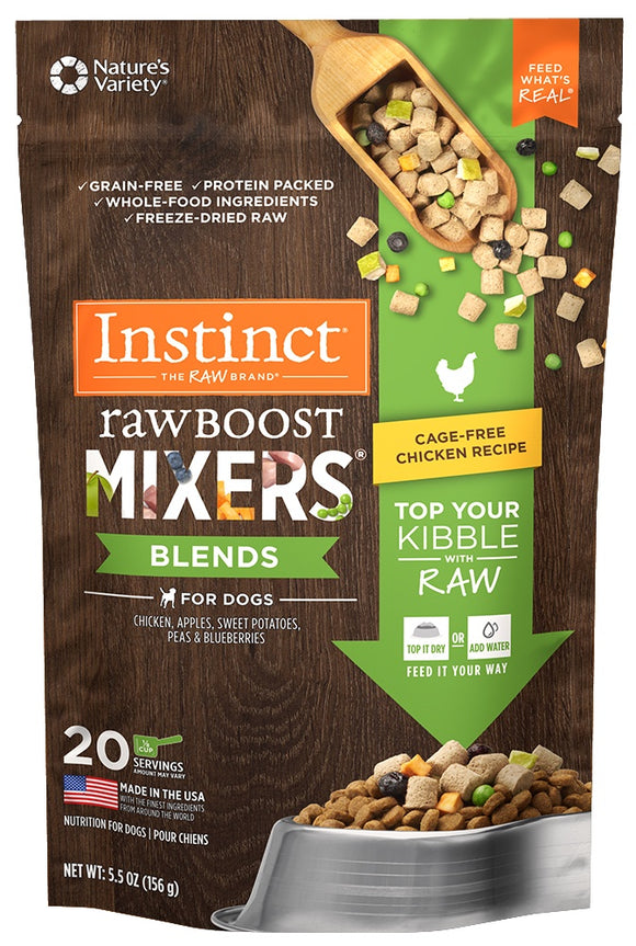 Nature's Variety Instinct Grain Free Freeze Dried Raw Boost Mixers Blends Chicken Recipe Dog Food Topper
