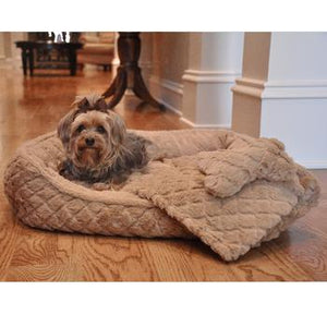 Ultra Soft Plush Beige Diamond Quilt Dog Bed with Bone and Blanket
