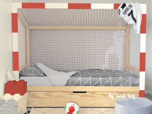 lit cage foot football Montessori cabane