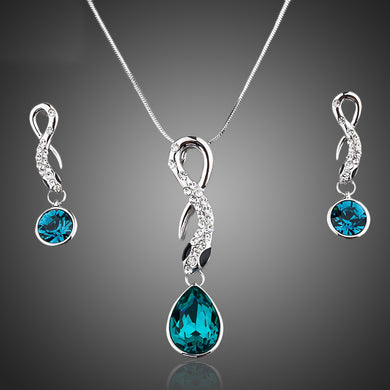 White Gold Color Blue Stellux Austrian Crystal Drop Pendants & Necklace Jewelry Sets