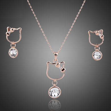 Lovely Cat Rose Gold Color Clear Stellux Austrian Crystal Drop Earrings/Pendants & Necklace Set