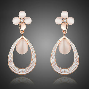 Elegant Rose Gold Color Opal Flower with Droplets Loop Earrings/Pendants & Necklace