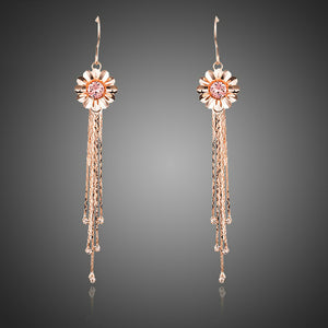 Elegant Flower With Tassel Rose Gold Color Stellux Austrian Crystals Drop Earrings