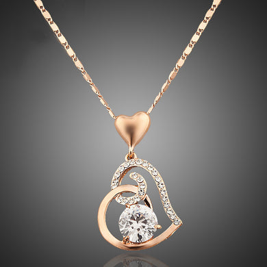 Rose Gold Color Stellux Crystals Heart Pendant Necklace