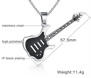Trendy Guitar Necklace Pendant Chain Stainless Steel Punk Rock Music Jewelry