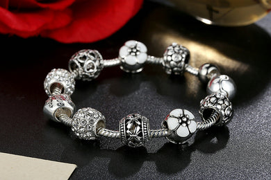 Antique Silver Charm with Love and Flower Crystal Ball Bracelet & Bangle