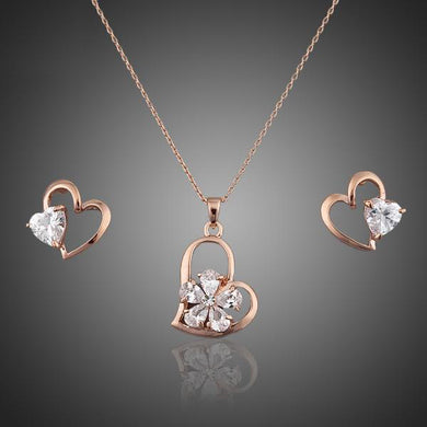 Rose Gold Color Stellux Austrian Crystal Heart Stud Earrings and Necklace Jewelry Sets