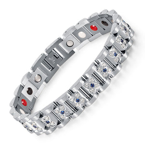 Rhinestone Silver Plated Crystal Magnetic Bio Bracelet Lady Jewelry