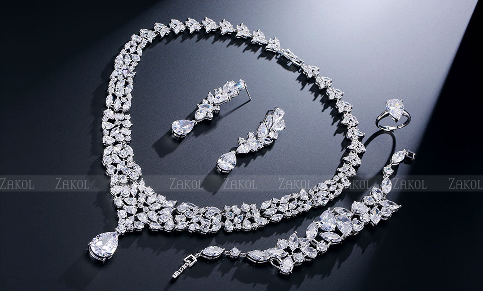 Gold-color Flower Luxury Cubic Zirconia Jewelry Set