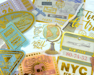 Gold Foil Travel Stickers 60 pcs, Junk Journal Ephemera