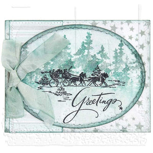 Seasons Greetings Christmas Card Rubber Stamps, Holiday Tim Holtz Cling Stamps