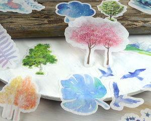 Watercolor Nature Washi Stickers 60 pcs, Junk Journal Supplies