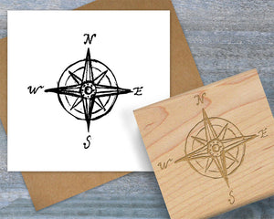 Large Compass Rubber Stamp, Hand Sketched Compass Rose Stamp