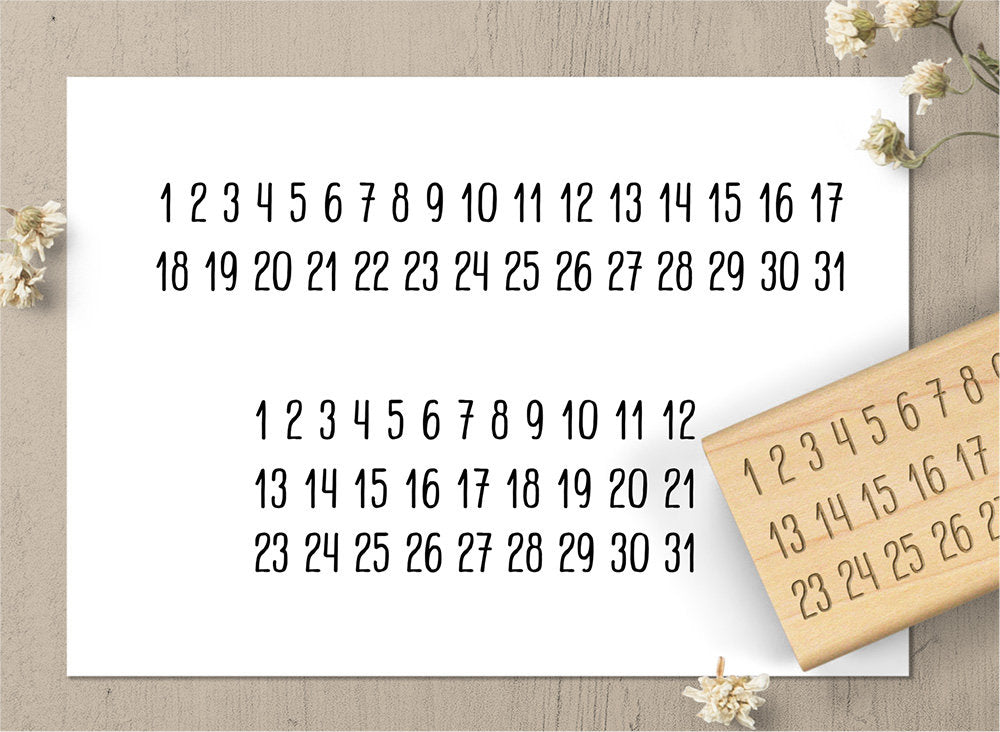 Just Numbers Minimalist Calendar Rubber Stamp