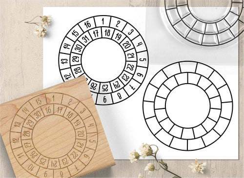 Round Tracker Stamp, Calendar Stamp - Clear or Wood Mounted