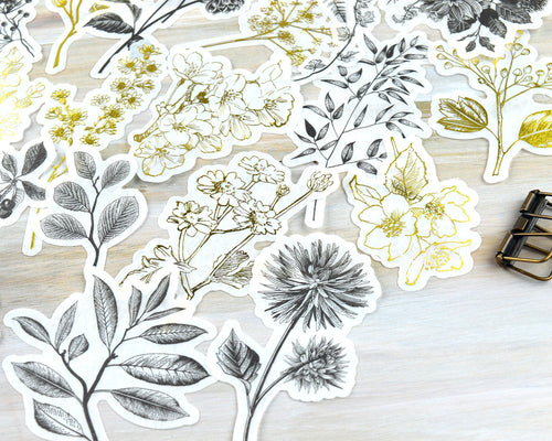 Large Foil Floral Washi Stickers 60 pcs