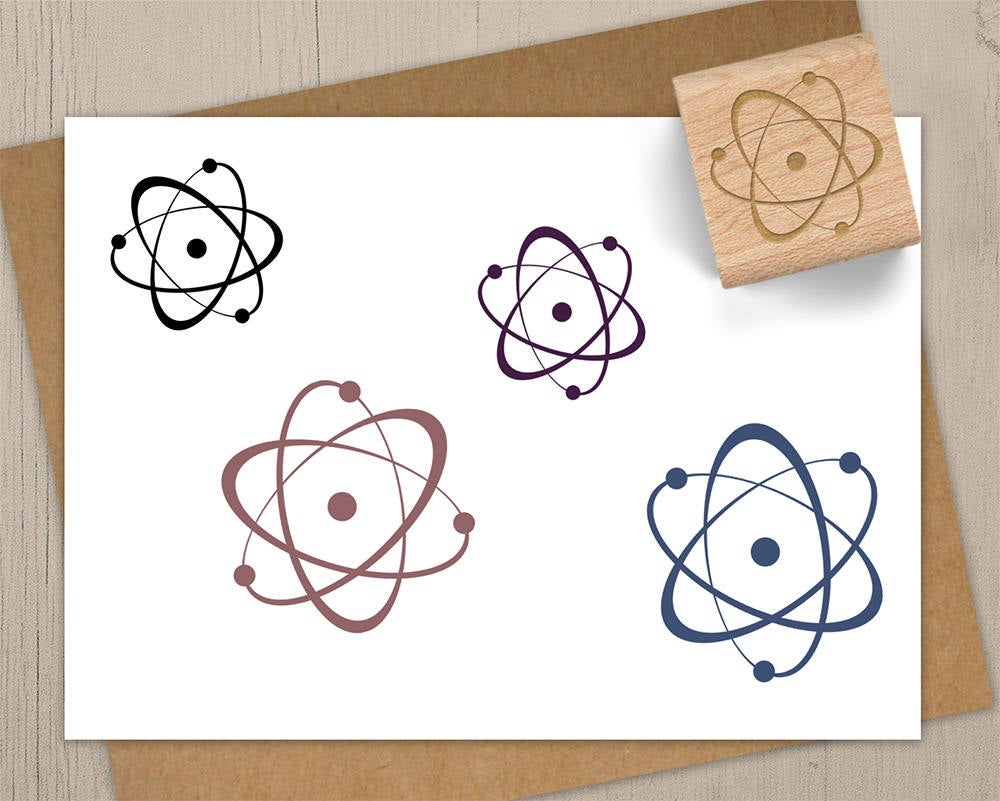 Atom Stamp, Science Chemistry Rubber Stamp