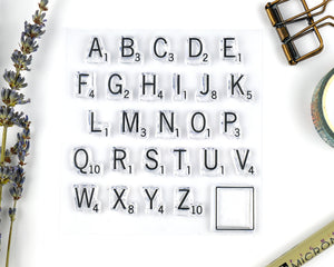 Alphabet Stamp, Letter Tile Rubber Clear Stamp Set