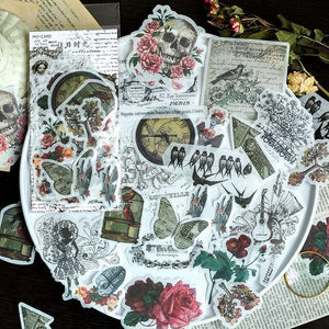 Gothic Altered Art Washi Stickers 60 pcs, Junk Journal Supplies