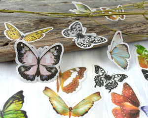 Butterfly Moth Washi Stickers, Junk Journal Supplies