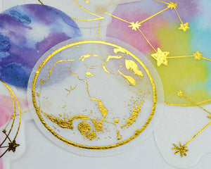 Foil Astronomy Washi Stickers with Moon Phases, Planets, Constellations 60 pcs