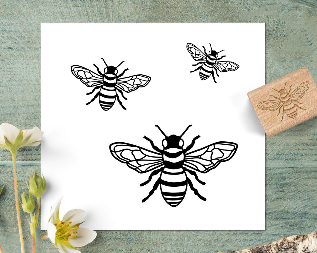 Hand Drawn Bee Stamp, Honey Bee Rubber Stamp