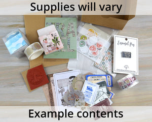 Journaling Supplies Surprise Mystery Box, Stickers and Washi Tape assortment