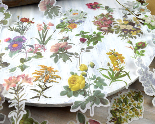 Flower Washi Stickers 60 pcs, Floral Junk Journal Ephemera, Vintage Botanical Stickers