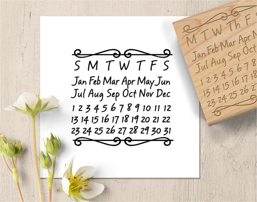 Perpetual Calendar Stamp,  Monthly Calendar Rubber Stamp