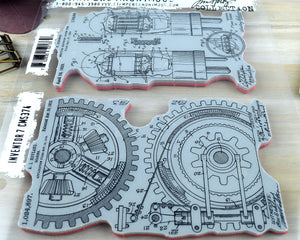 Patent Steampunk Rubber Stamp Set, Large Inventor Engineer Stamps - Tim Holtz Inventor 7