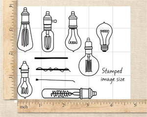 Vintage Edison Lamp Clear Rubber Stamp Set
