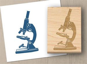 Microscope Stamp, Science Chemistry Rubber Stamp