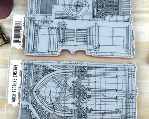 Architecture Large Background Rubber Stamp, Building, Arch and Column Designs - Tim Holtz Cling Stamps