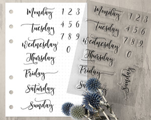 Weekday Bullet Journal Stamps, Clear Stamps with Numbers