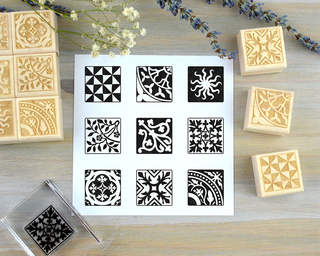 Old World Mini Tile Stamps, Vintage Pattern Rubber Stamps - Clear or Wood Mounted
