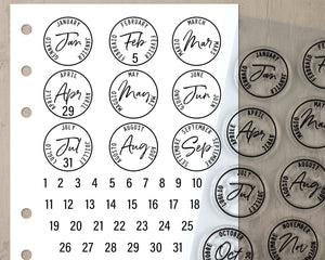 Postage Cancellation Date Stamps, Bullet Journal Clear Planner Stamps